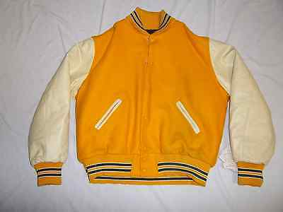 Hollowayquilt Lined Gold/green Nylon Leather Sleeves School Letter Jacket