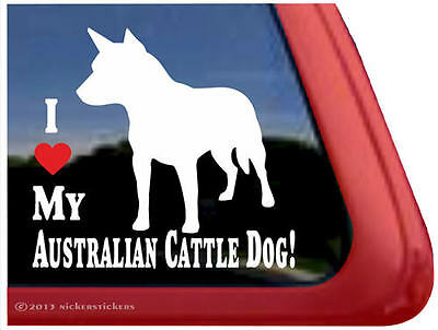 I LOVE MY AUSTRALIAN CATTLE DOG! ~ High Quality Vinyl Dog Window Decal Sticker