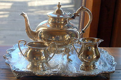 Sheffield Art Deco Silver on Copper Quadruple Plate Coffee/Tea Set for Two