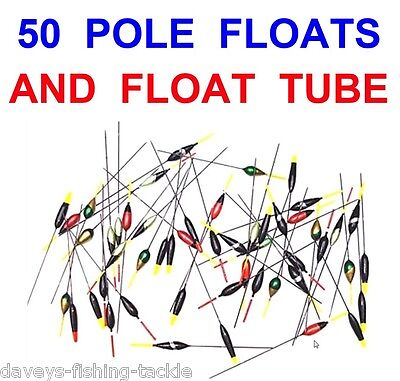 50 Assorted Pole Floats+Float Tube Coarse Carp River Lake Canal Match Fishing