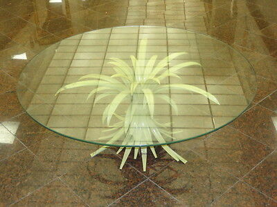 SHABBY MID CENTURY TOLE PALM LEAF COFFEE TABLE with GLASS TOP  * ITALY