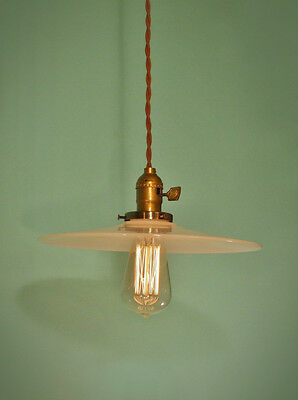 Collectibles Vintage Industrial Hanging Light With Brass Cone Shade Machine Age Minimalist