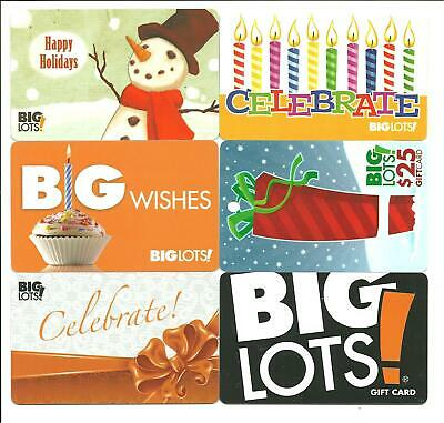 Big Lots Lot of (7) Gift Cards No $ Value Collectible incl. Holiday Christmas