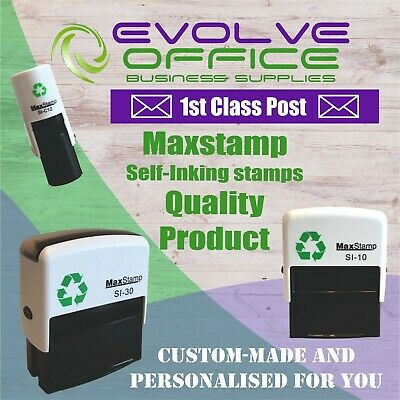 Customised Name and Address Self Inking Rubber Stamp TEXT & LOGOS