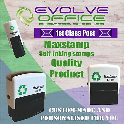 Personalised Name Address & Logos Self Inking Rubber Stamp Free Design & P&P