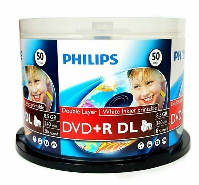 50 8X Philips Inkjet Printable DVD+R DL Double Dual Layer 8.5GB with Cake Box