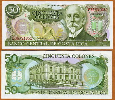 Costa Rica, 50 Colones, 7-7-1993, P-257 UNC -  the last