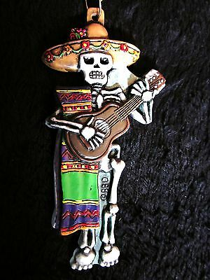"MEXICAN ""DAY of the DEAD"" GUITAR PLAYING SKELETON MARDI GRAS NECKLACE (B371)"
