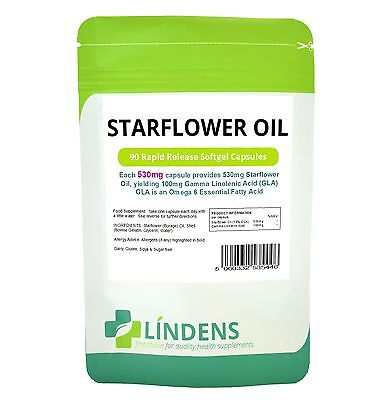 Starflower Oil - more potent than Evening Primrose (90 capsules) [Lindens 5446]