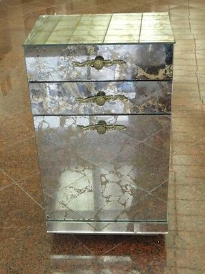 Mid Century Eglomise Mirror Panel Hollywood Regency Hamper Cabinet