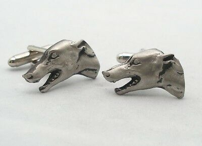 Greyhound Dog Head Cufflinks in Fine English Pewter, racing, Gift Boxed