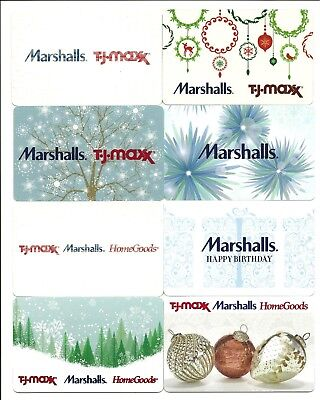 Marshalls HomeGoods TJ Maxx Combo Lot of (8) Gift Cards No $ Value Collectible