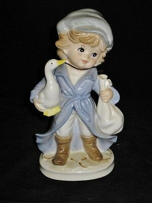 """KPM Porcelain Figurine of Boy with Duck or Goose, 7 1/2"""" Tall"""