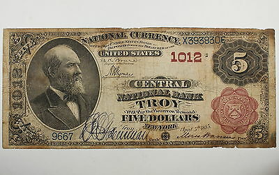 Series 1882 $5 National Currency Note, Troy NY 1012