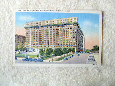 DUPONT HOTEL AND RODNEY SQUARE, WILMINGTON, DELAWARE-LINEN POST CARD-MID 1990'S