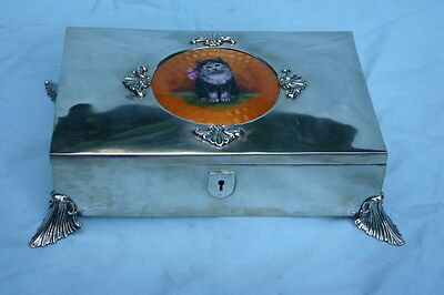 French 935 Silver & Enamel Cat Painting Unique Box Circa 1900    MAGNIFICENT