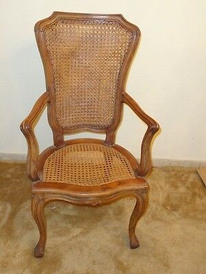 Italian Provincial Rococo Carved Walnut Fauteuil Chair with Rattan-Caned 19 c.