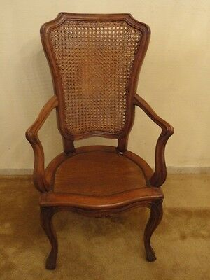 19 c. Italian Provincial Rococo Carved Walnut Fauteuil Chair with Rattan-Caned *
