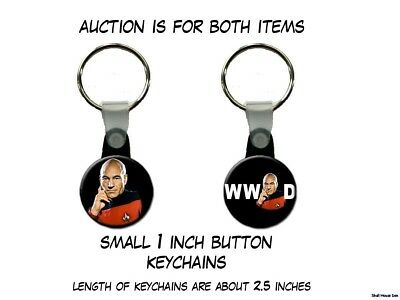 What Would Captain Picard Star Trek Next Generation set of 2 Key Chains