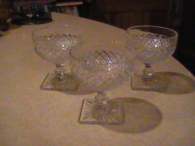 3 Anchor Hocking Glass Miss America Crystal Sherbets