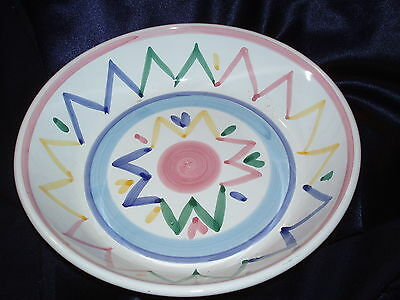 "Caleca Italy Sole Round 10"" Pasta Serving Bowl Multicolored Lines Zig Zag Pastel"