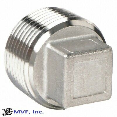 """Plug Square Head 150# 304 Stainless Steel 2"""" Npt Brewing Pipe Plug New  888Wh"""