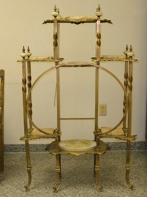 Antique Ornate Brass & Onyx Victorian Etagere