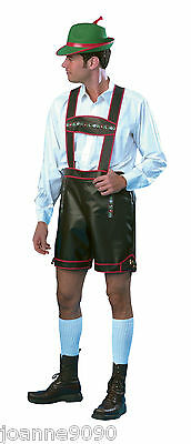 *Mens Adult German Man Bavarian Beer Oktoberfest Lederhosen Fancy Dress Costume*
