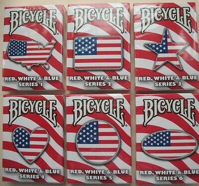 Rare Lot 6 Bicycle Red, White & Blue Deck Series 1,2,3,4,5,6 Playing Cards Magic