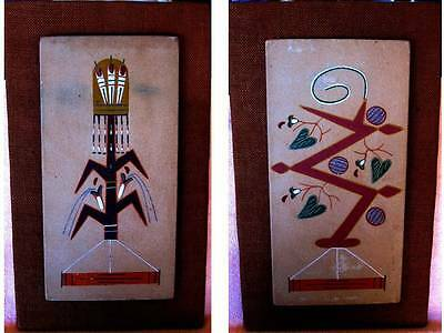 PAIR of VINTAGE NAVAJO SAND PAINTINGS by WALLACE WATCHMAN TOHATCHI