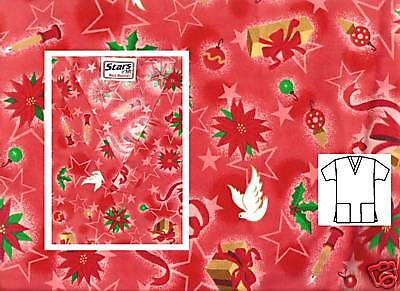 NEW Scrubs ~ Christmas Print Scrub Top ~ XS ~ Holiday Delight Red ~ # 506