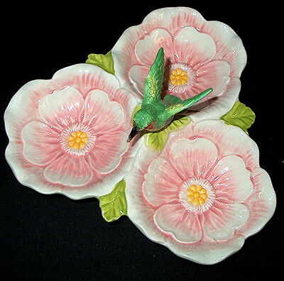 Ceramic Hummingbird Serving Platter or Candy Dish from Sadek   8in x 8 in