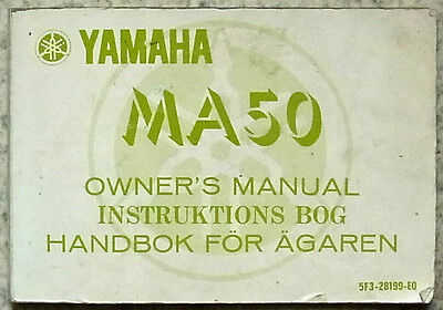 YAMAHA MA50 MOTORCYCLE 1980 Owners Manual Handbook # 5T3-28199-E0