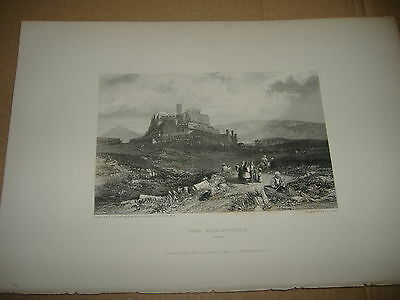 1833 Beautiful Engraving Acropolis Of Athens Greece Hellas Engraved By Cousen