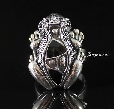 Frog Cocktail Ring -One Size- Austrian Rhinestone Crystal Silver Plated R1213