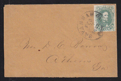 Confederate States Sc 1 on 1862 cover, Savannah-Athens, 5c Jefferson Davis VF.