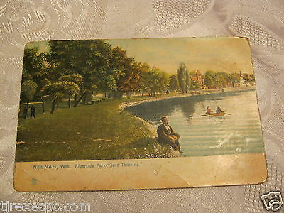 Neenah Wis Riverside Park Antique Postcard