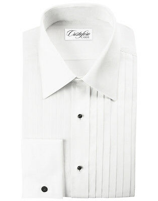 NEW Cardi White Laydown Collar Pleated Tuxedo Shirt 100% Cotton Formal ALL SIZES