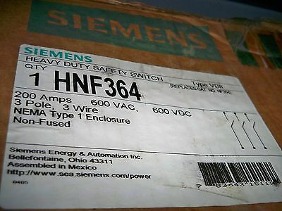 Siemens HNF364 200amp 600v non fused disconnect safety switch new!