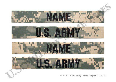 Two U.S. Army ACU Name Tape & Service Tape Sets without Velcro for Sew-on Only