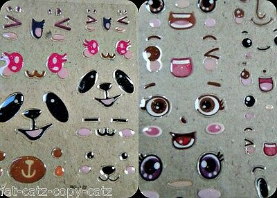 Eyes Funny Faces Puffy 3D Stickers Craft Animal Pig Eyes Nose Mouth Expressions