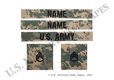U.S. Army Name Tape & Rank Patch Set for ACU & Cap w/o Hook Fastener for Sew-On