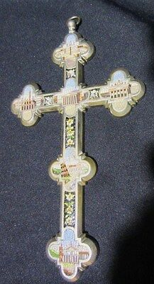 italian micromosainc cross bronze silver plated miniature roman scenes hand made