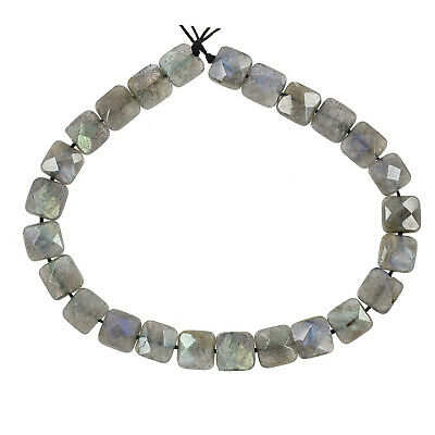 """15.6"""" Labradorite Faceted Flat Square Beads 8mm Grade A #85396"""