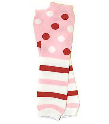 NEW Baby Toddler Girls Pink Polka Stripe Leg Warmers