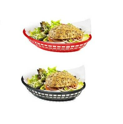 6x Fast Food Jumbo Oval Basket (Black or Red), Burger, Chips