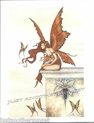 Amy Brown Wings Like Sunset Print Fairy Butterfly 8.5x11 Faery Perch Sky