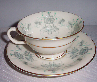 Pattern Caprice By Castleton -Usa Cup & Saucer Gray Floral On Rim Gold Verge