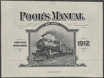 POOR'S MANUAL 1912 ISS. OF TRAIN VIGNETTE '969' DIE PROOF ON INDIA; RBNCo BN6873