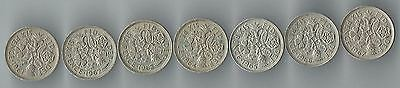 Very Nice Set of 7 British Sixpence QUEEN ELIZABETH Coins from 1961 to 1967